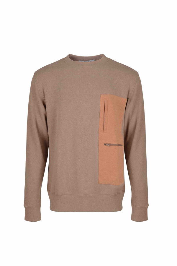 Front view of Men Pocket Blocked Sweatshirt in Orange/Camel