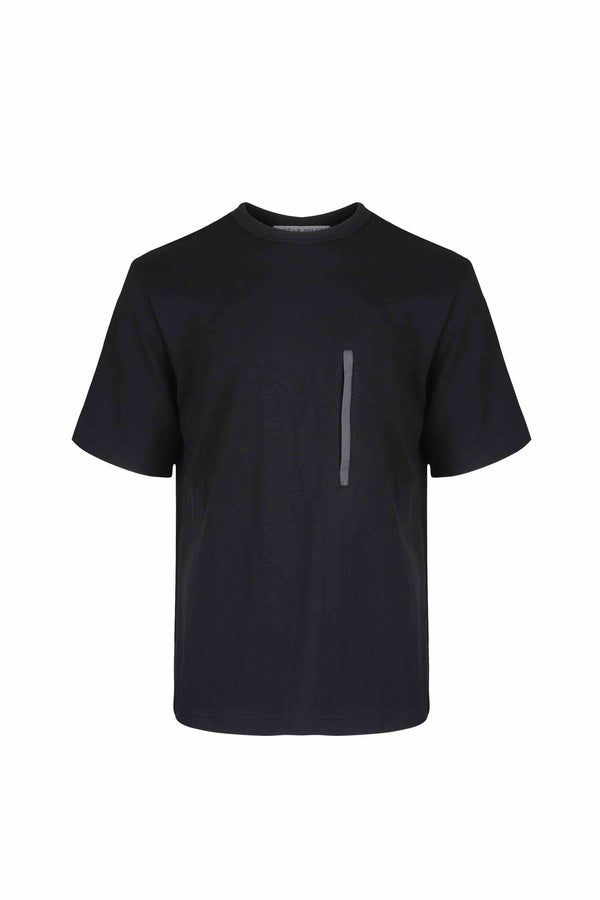 Front view of Men Chest Zipper T-Shirt, made with Organic Cotton in Black
