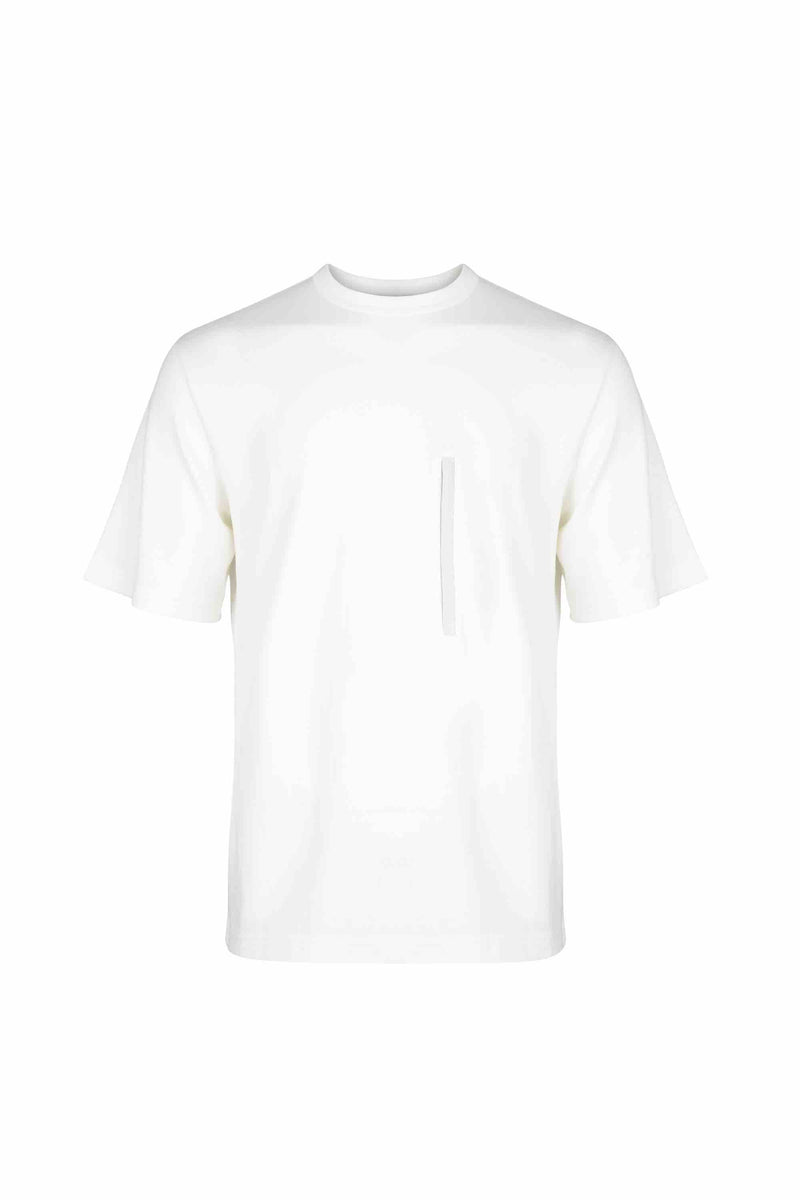 Front view of Men Chest Zipper T-Shirt, made with Organic Cotton in White