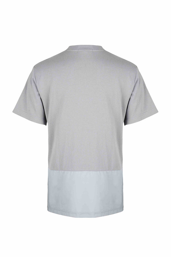 Back view of Men Blocked Front Pocket T-Shirt, made with Organic Cotton in Grey
