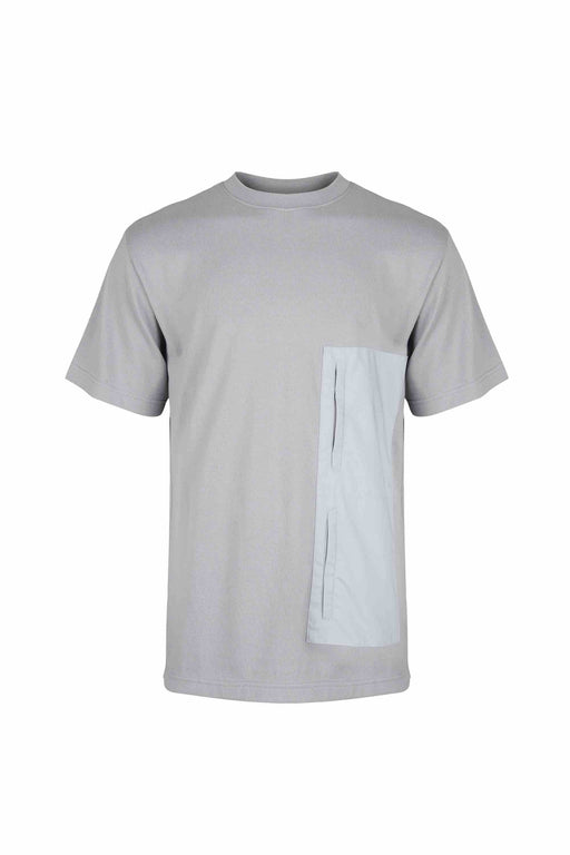 Front view of Men Blocked Front Pocket T-Shirt, made with Organic Cotton in Grey