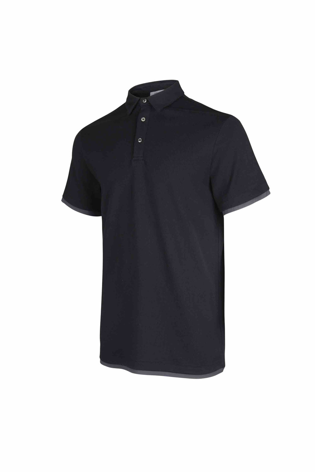 Side view of Men Contrast Polo Shirt, made with Organic Cotton in Black