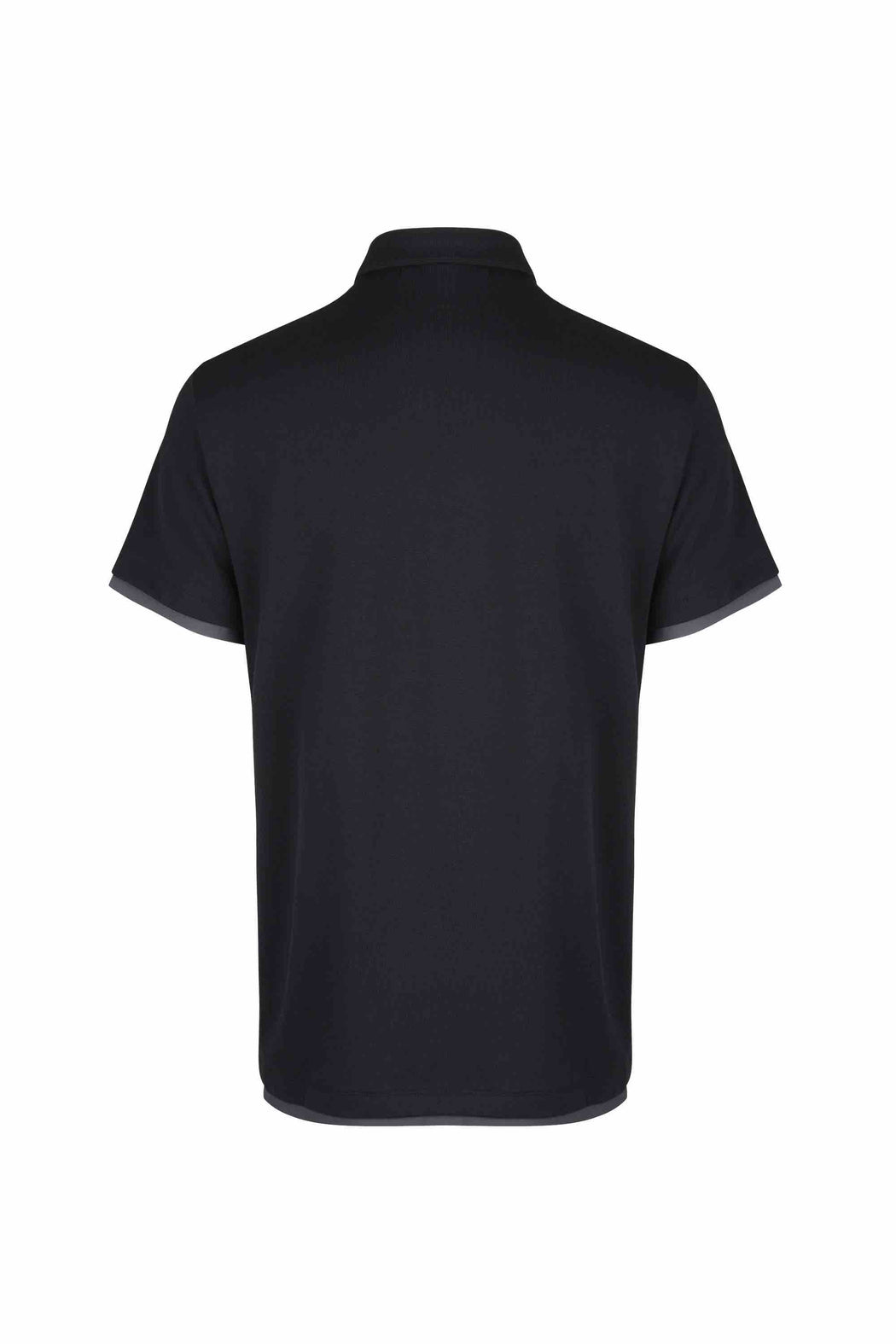 Back view of Men Contrast Polo Shirt, made with Organic Cotton in Black