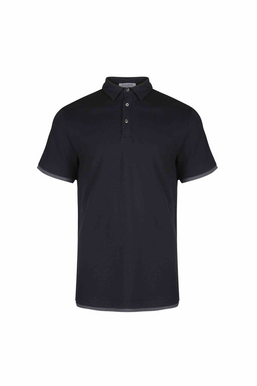 Front view of Men Contrast Polo Shirt, made with Organic Cotton in Black