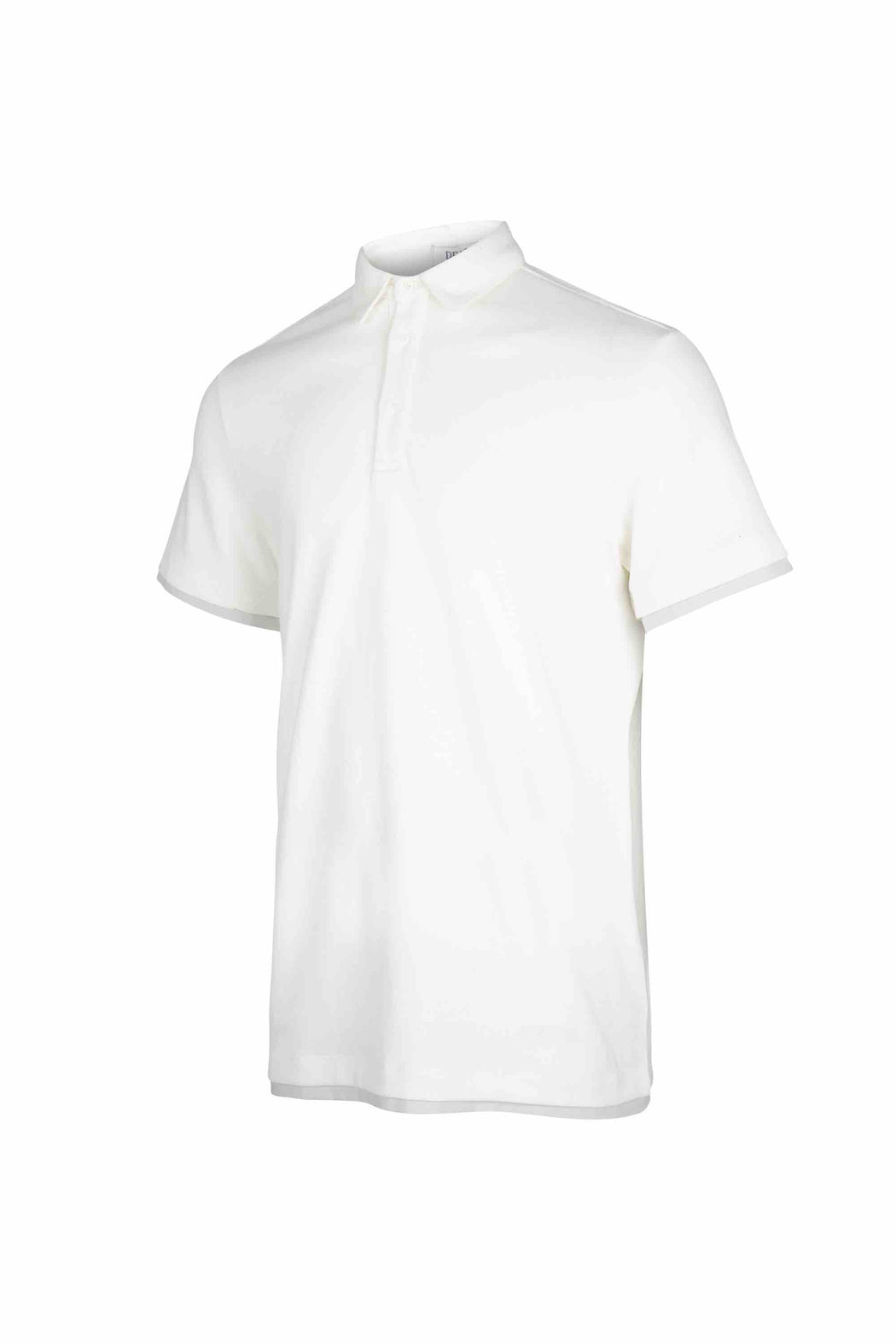 Side view of Men Contrast Polo Shirt, made with Organic Cotton in White