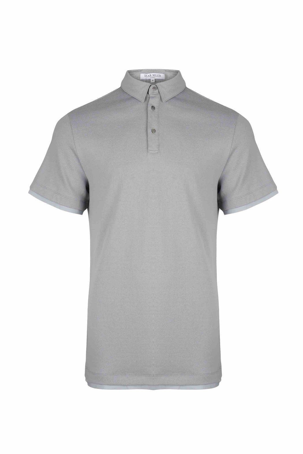 Front view of Men Contrast Polo Shirt, made with Organic Cotton in Grey