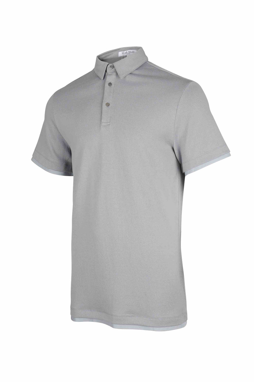 Side view of Men Contrast Polo Shirt, made with Organic Cotton in Grey