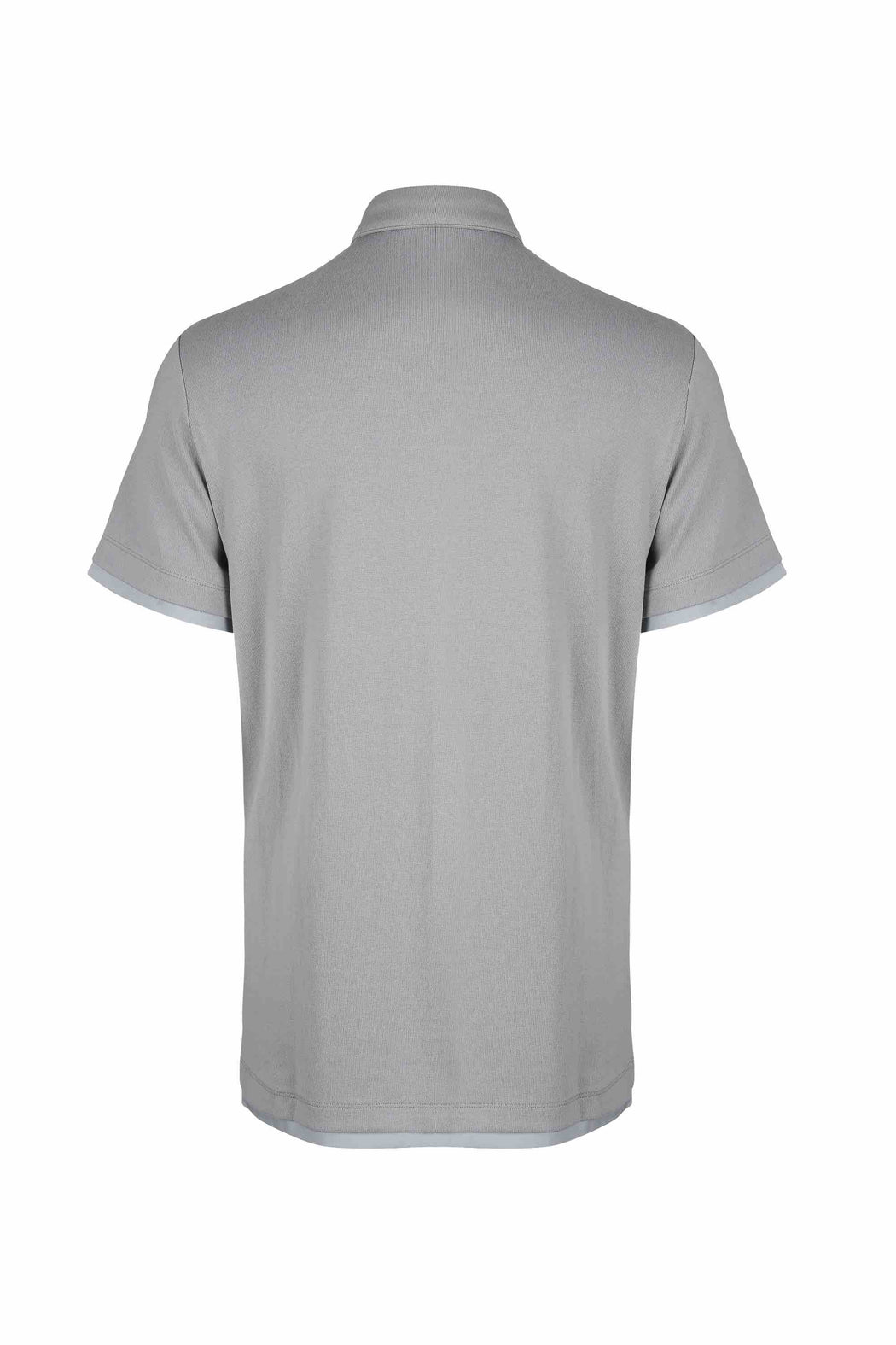 Back view of Men Contrast Polo Shirt, made with Organic Cotton in Grey