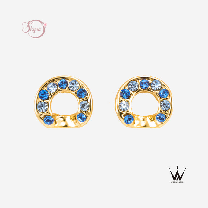 Blue Rhinestone Cycle Earring