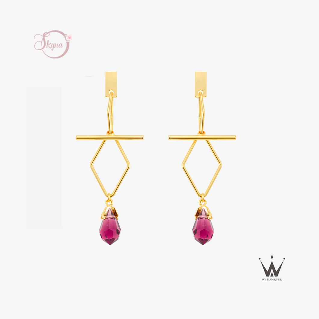 T Shaped Crystal Earring
