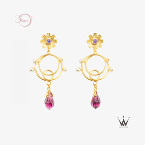 Purple Rhinestone with Hanging Crystal Pearl Decor Earring