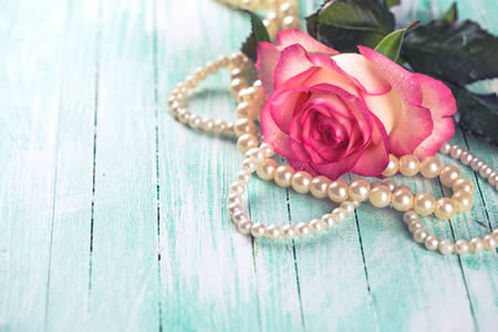 pearls with a rose