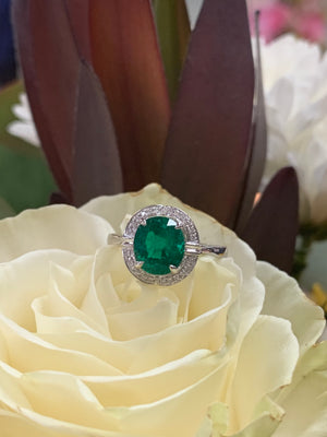 18k White Gold, Diamond and Emerald Ring