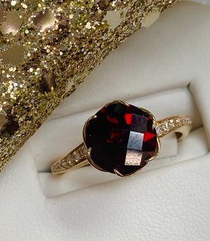 14k Yellow Gold, Diamond and Garnet Ring