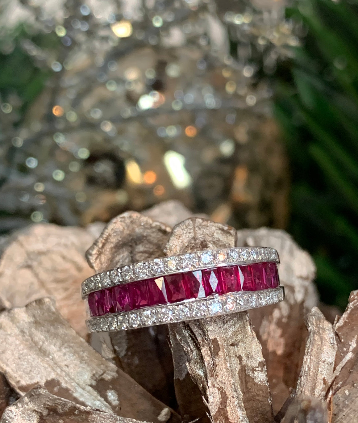 14k White Gold, Ruby and Diamond Ring