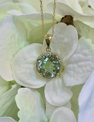 14k Yellow Gold, Green Amethyst and Diamond Halo pendant