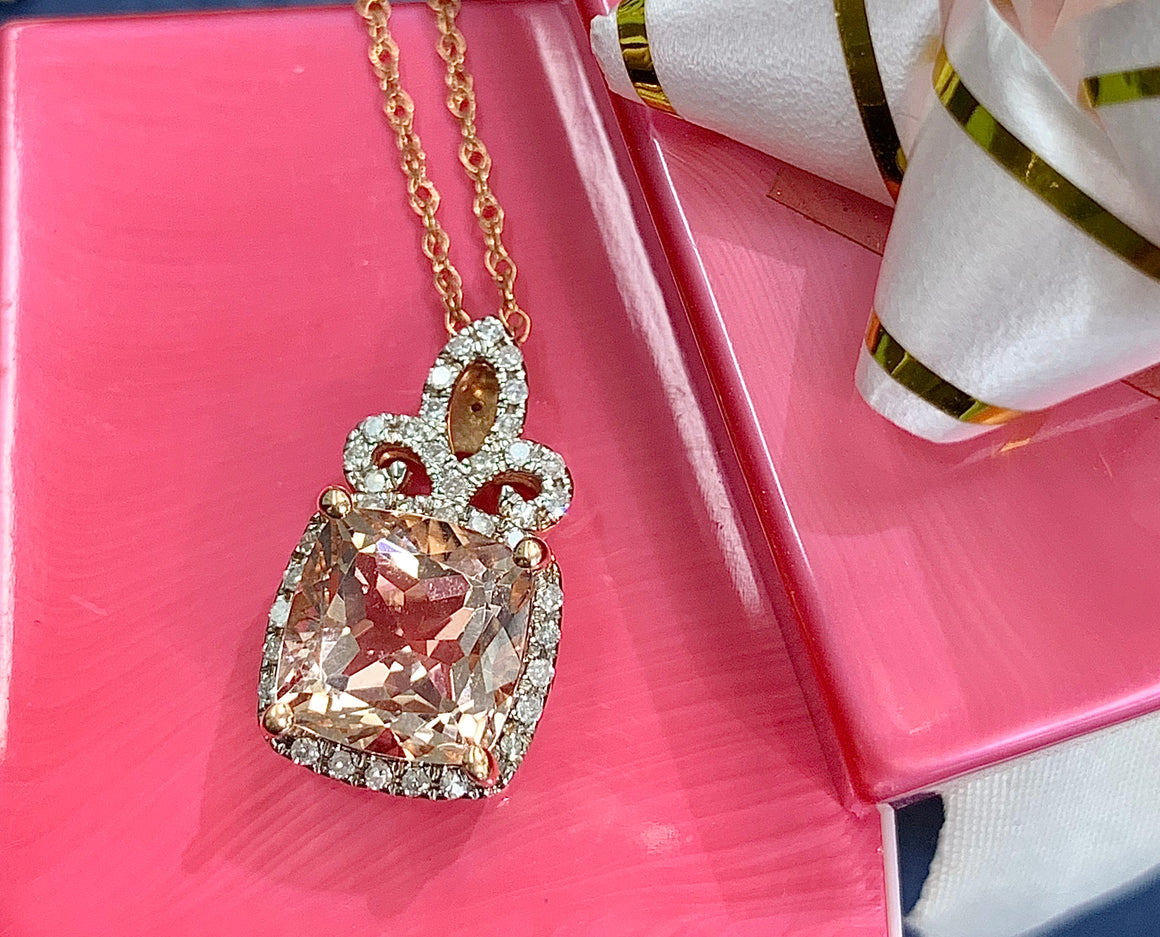 14k Rose Gold, Diamond and Morganite Pendant