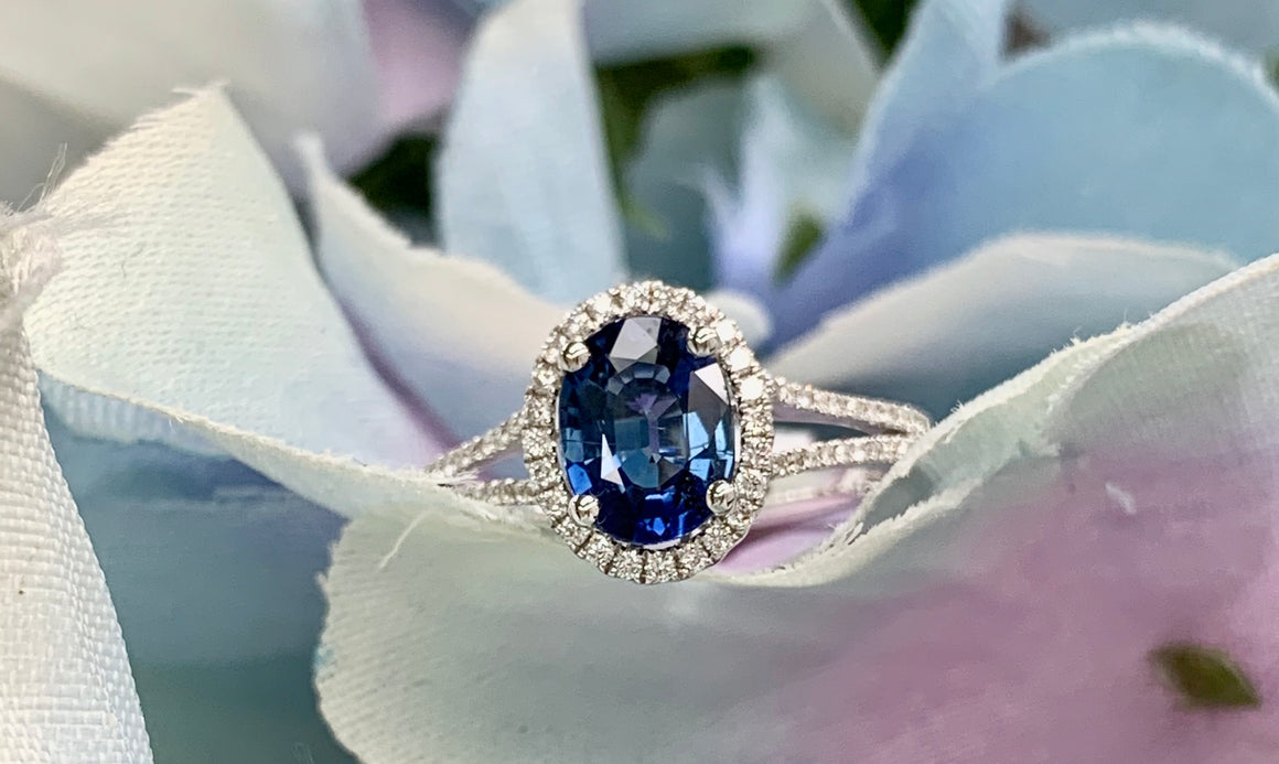 18k White Gold, Blue Sapphire and Diamond Ring