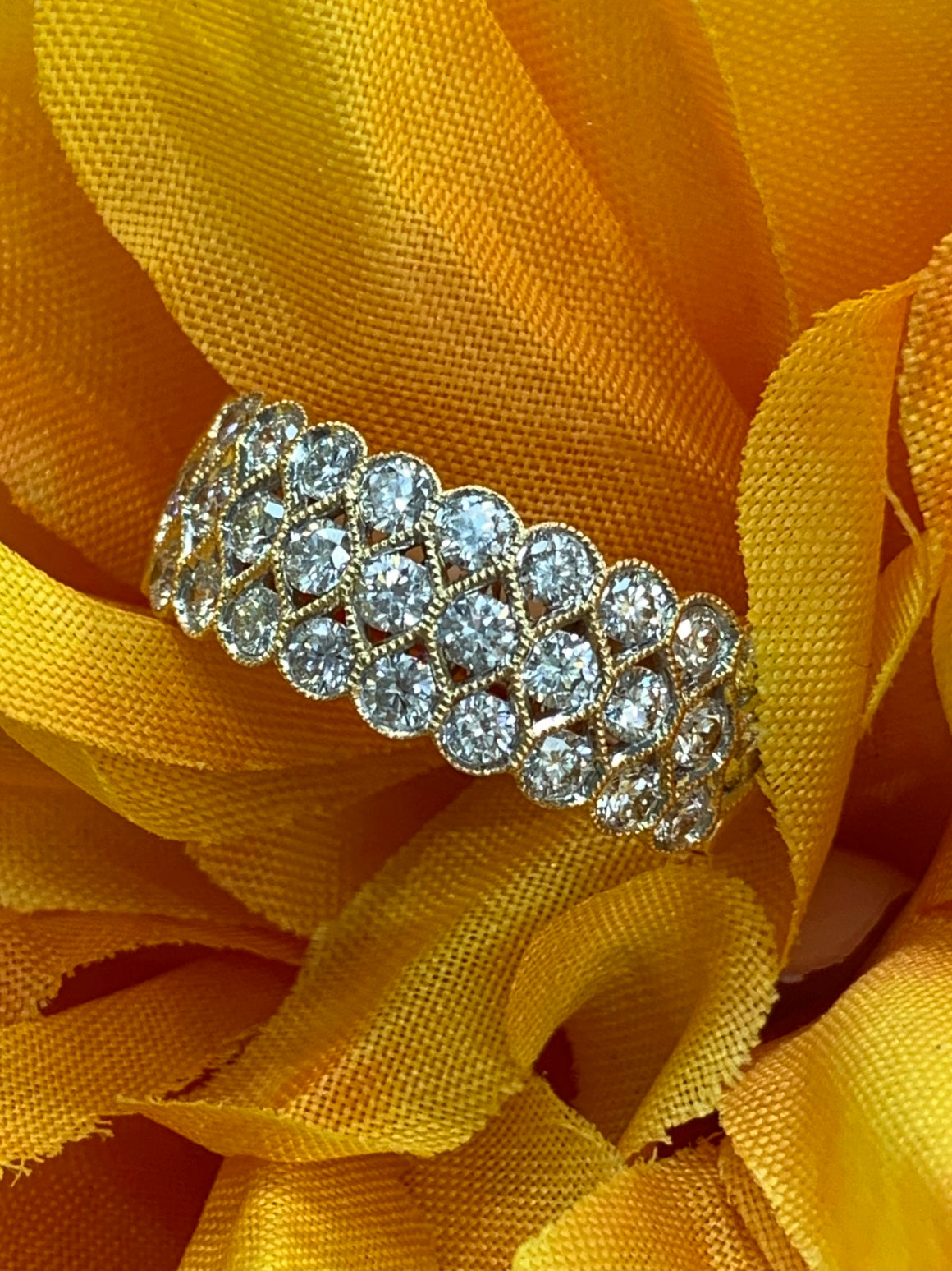 14k Yellow Gold and Diamond Fashion Ring