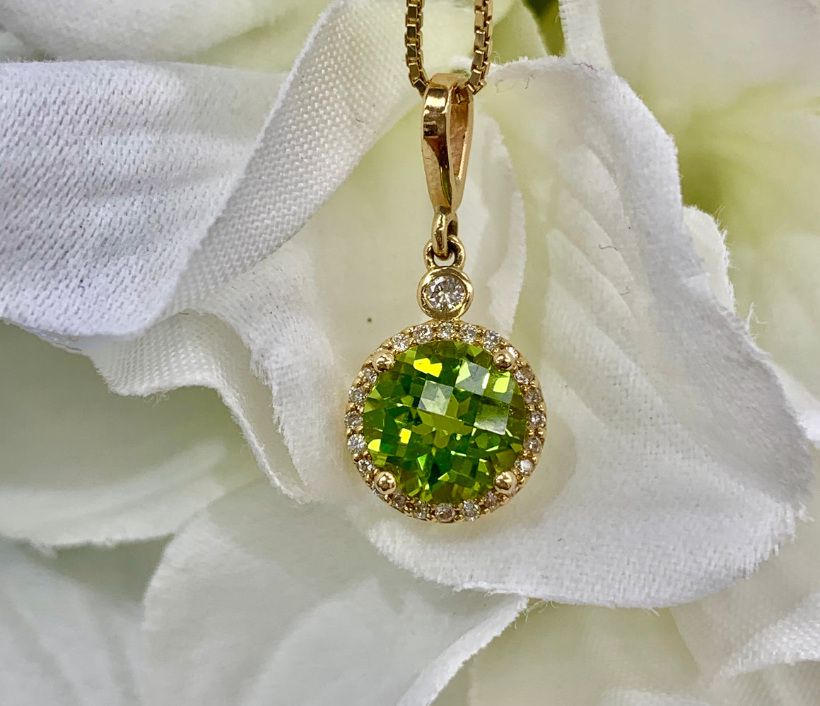 Custom Peridot and Diamond Pendant