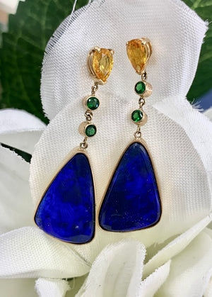 Custom Designed 14k Yellow Gold, Opal, Citrine and Tsavorite Garnet Earrings