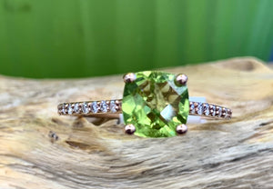 Custom Designed, 14k Rose Gold, Diamond and Peridot Ring