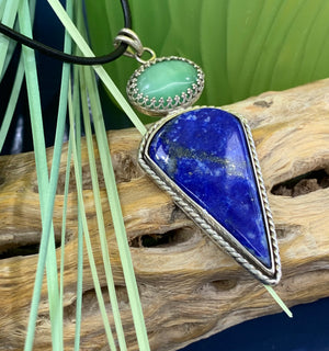 Custom Designed, Sterling Silver, Lapis Lazuli and Aventurine Pendant