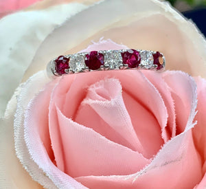 14k White Gold, Diamond and Ruby Ring