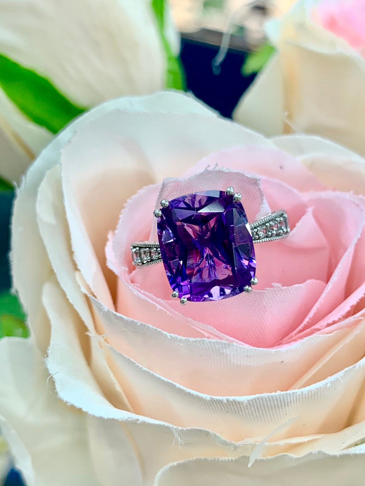 10k White Gold, Diamond and Modified Cushion Cut Amethyst