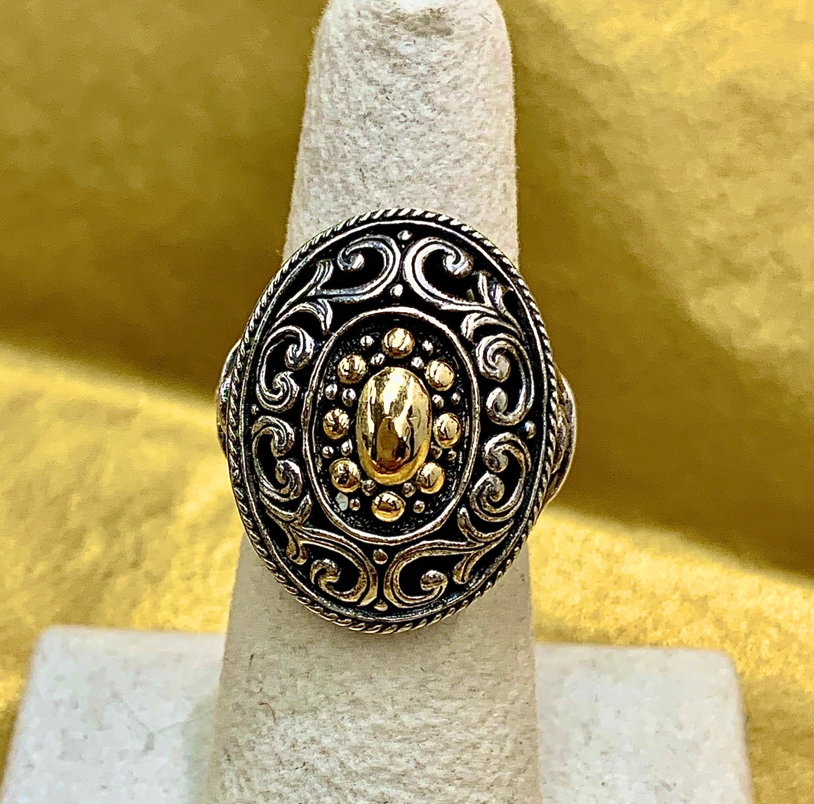 Estate Sterling Silver and 18k Yellow Gold Ring