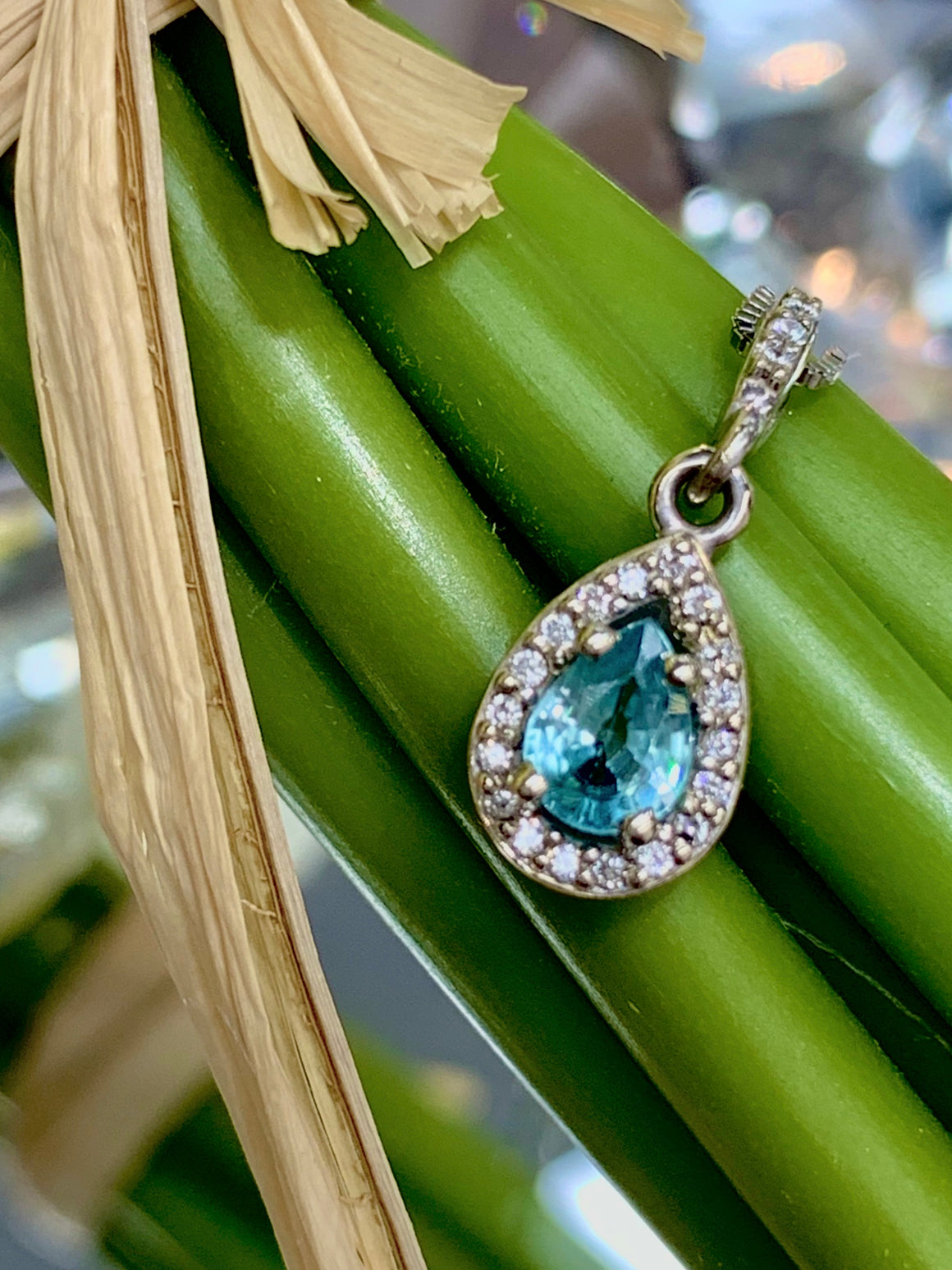 Custom Designed Blue Zircon and Diamond Halo Pendant