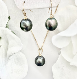 14k Yellow Gold and Cultured Black Tahitian Pearls