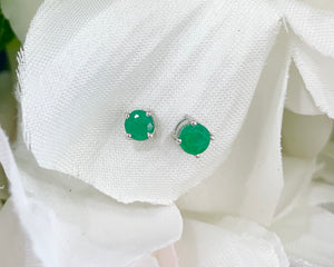 14k White Gold and Emerald Earrings