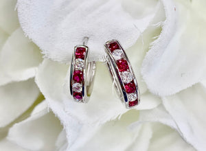 18k White Gold, Ruby and Diamond Earrings
