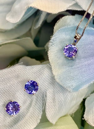 14K White Gold and Tanzanite Pendant and Earrings