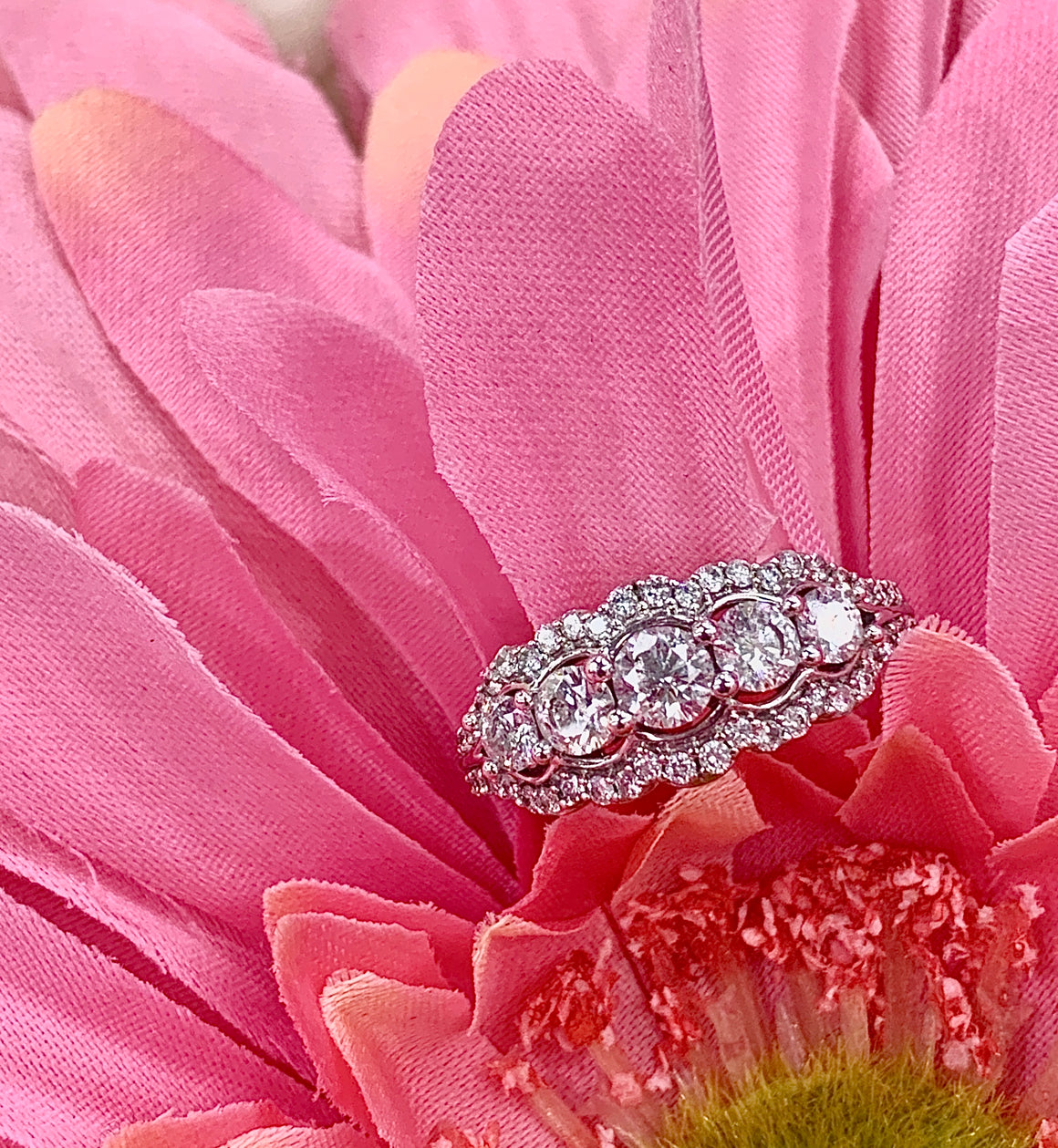 Vintage style 14k white gold and 1.25cttw diamond ring