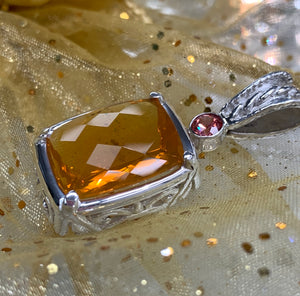Fire opal  and orange sapphire pendant