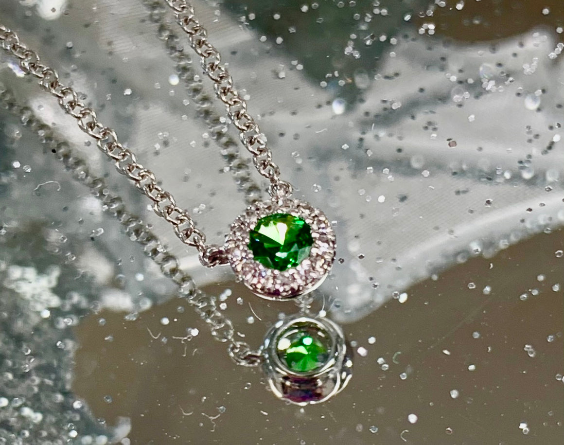 14k white gold and tsavorite garnet pendant