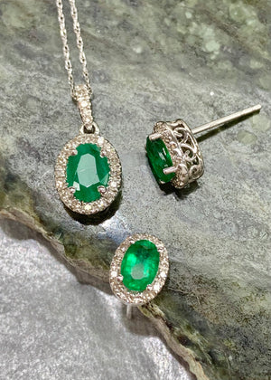 Emerald and Diamond pendant and Earring set