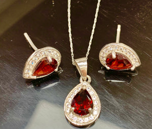 Garnet and White Zircon in Sterling Silver