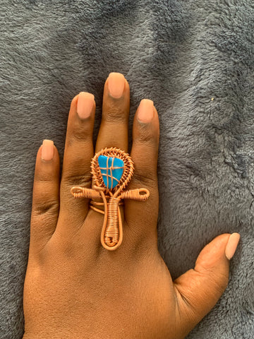 Copper Ankh Ring