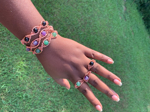 Double Helix Gemstone 2pc Set