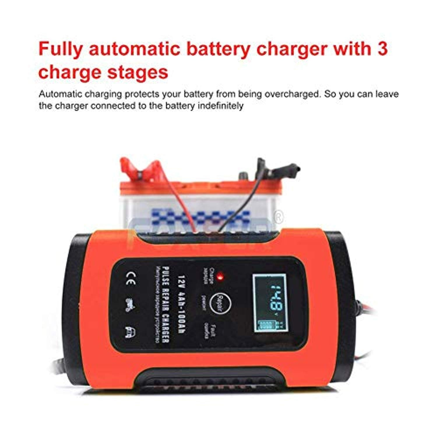 YTBLF Motorcycle UPS Battery Charger, 12V car Smart Battery Charger, Pulse Repair Charger with LCD Display for car, Motorcycle Battery