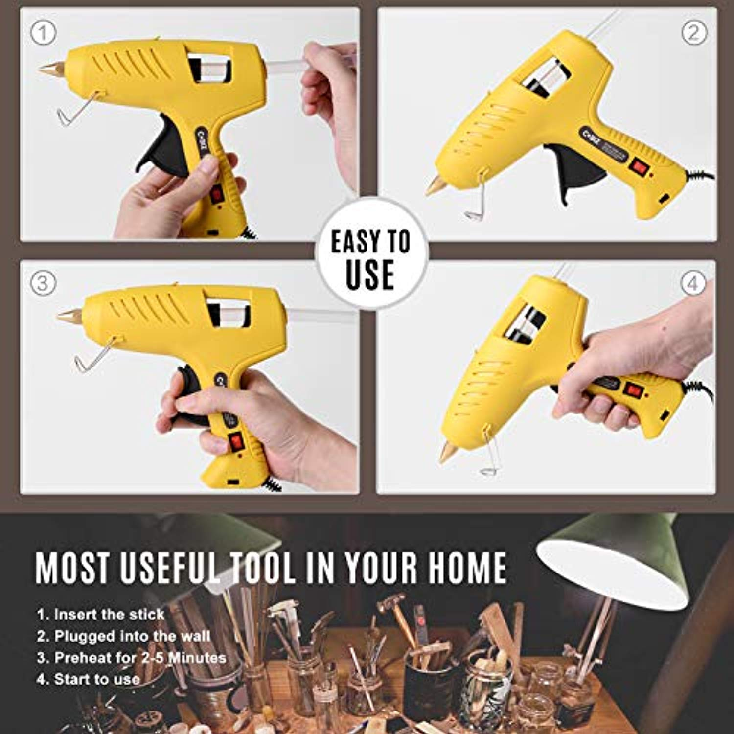 "Hot Glue Gun with LED Lights,60/100W Full Size Dual Power High Temp Heavy Duty Melt Glue Gun Kit with 10 Pcs Premium Glue Sticks(0.43'' x 8"") for DIY, Arts & Crafts Use,Christmas Decoration/Gifts"