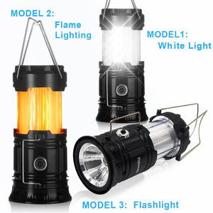 (40% OFF)3-in-1 Camping Lantern,Portable Outdoor LED Flame Lantern Flashlights