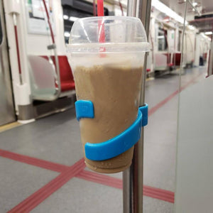Portable Public Transportation Cup Holder Hand Free Drink Stand For Trains Buses Bikes Water Bottles
