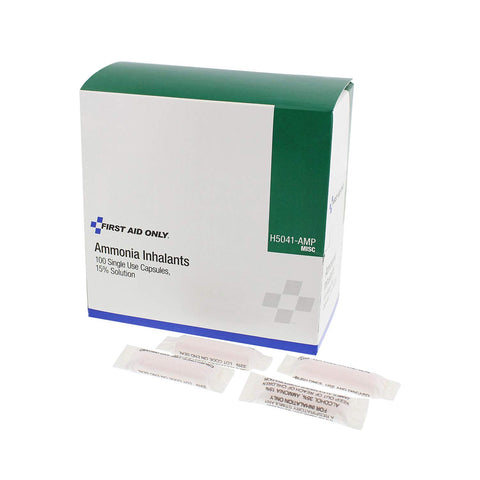 Image of First Aid Only H5041-AMP Ammonia Inhalant Ampoules, 100/Box