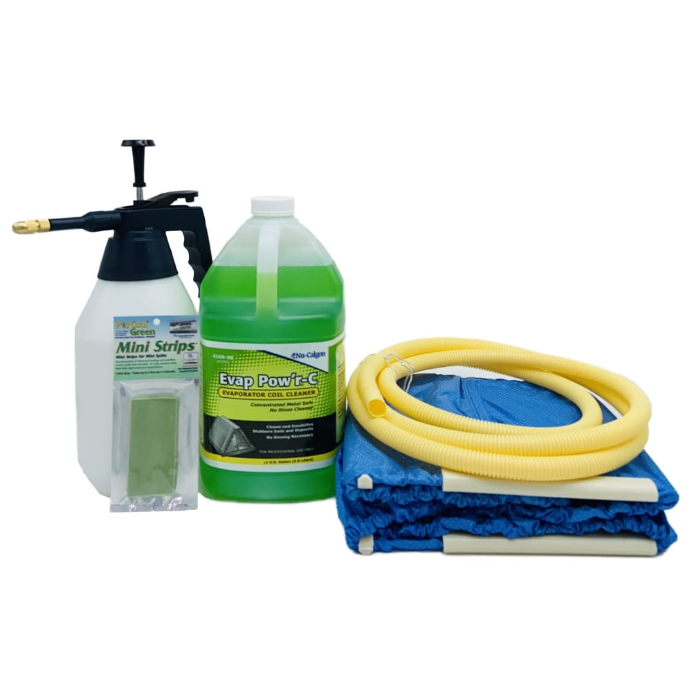 Complete Mini Split Cleaning Kit Featuring Nu-Calgon Evap Pow'r C Coil Cleaner & CleanAir Odour Treatment Tab - coil cleaners
