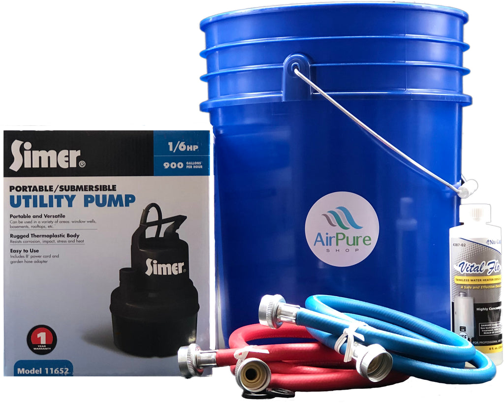 Tankless Water Heater Descaler Kit Featuring - Sump Pump (1/6 HP), Nu-Calgon 8oz. Vital-Flo Descaler, 5-Foot High Pressure Hoses and a 20-Litre Bucket.