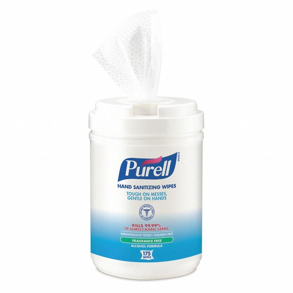 Purell Alcohol Formulation Sanitizing Wipes 175 Count Canister 6-Pack - Health & Safety